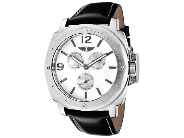 I By Invicta 41703-002 Men's Multi-Function Black Genuine Leather White Dial Watch