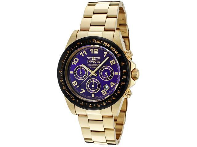 Invicta 10704 Men's Speedway Chronograph Blue Dial 18K Gold Plated Stainless Steel Watch