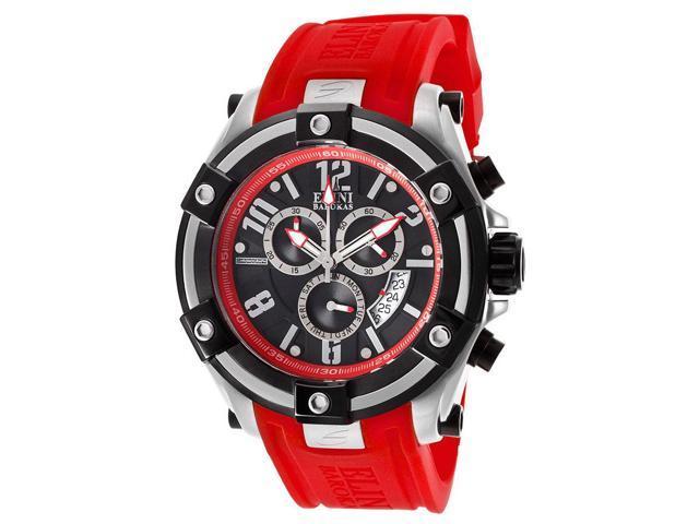 Elini Barokas 10056-01-Rdsa Gladiator Chronograph Red Silicone Black Dial Watch