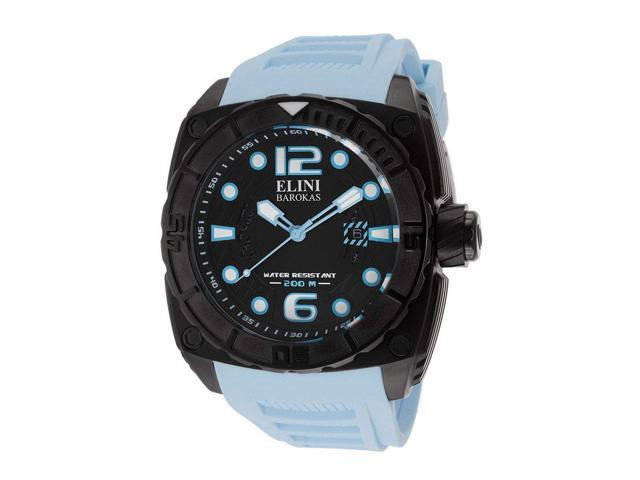 Elini Barokas 10014Bb01bblsa Commander Light Blue Silicone Black Textured Dial And Ip Ss Watch