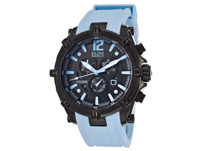 Elini Barokas 10179-Bb-01-Bblsa Men's Fortitudo Chronograph Black Dial Light Blue Silicone Watch