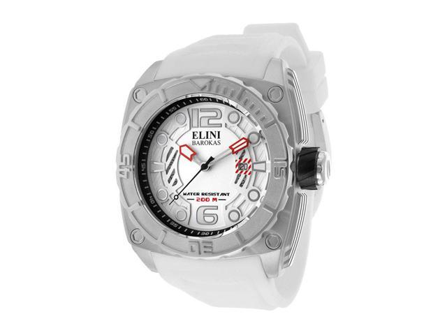 Elini Barokas 10014-02S-Wht Commander White Silicone And Textured Dial Ss Watch