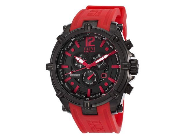 Elini Barokas 10179-Bb-01-Rdsa Men's Fortitudo Chronograph Black Dial Red Silicone Watch