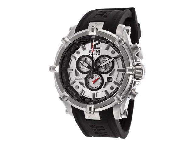 Elini Barokas 10179-02S Fortitudo Chrono Black Silicone Silver-Tone Dial Ss Watch
