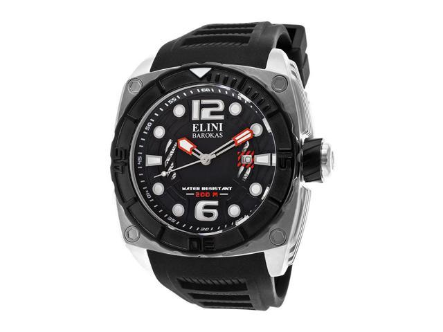 Elini Barokas 10014-01-Bb Commander Black Silicone, Textured Dial And Bezel Ss Watch