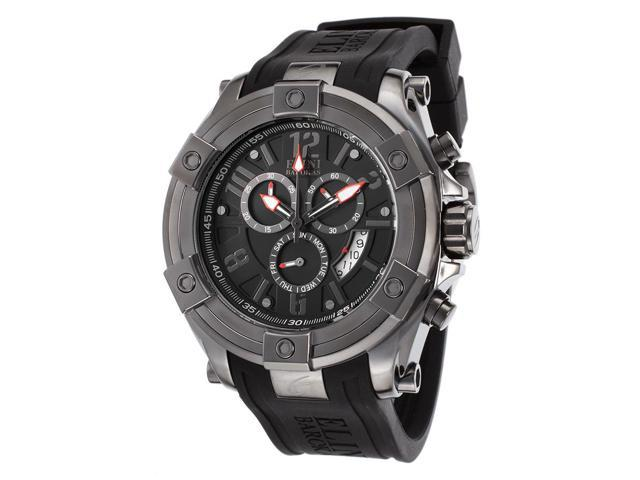 Elini Barokas Gladiator Chronograph Black Silicone Black Dial Sports Watch