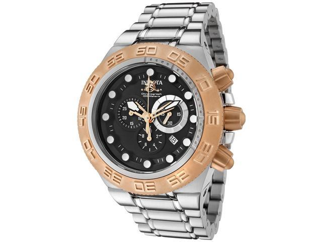 Men's Subaqua Chronograph Stainless Steel Black Dial Rose-Tone Accents