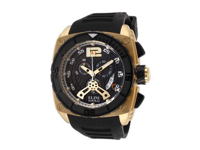 Elini Barokas 17012-Yg-01 Commander Chronograph Black Silicone And Dial Watch