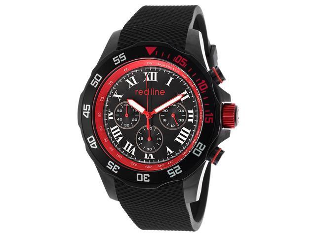 Red Line 60057 Tracker Chrono Black Rubber And Dial Red Accent Watch