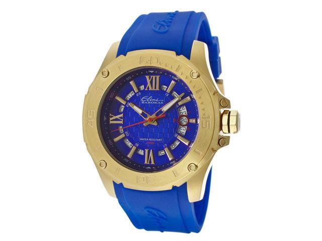 Elini Barokas 10196-Yg-03 Artisan Blue Silicone Blue Dial Gold-Tone Ss Watch