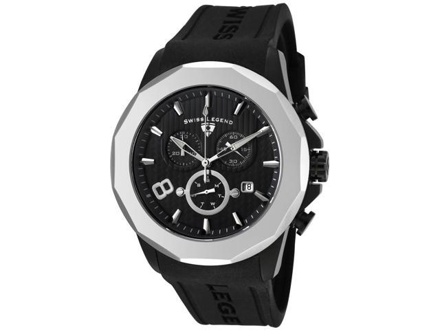 SWISS LEGEND Men's Monte Carlo Chronograph Black Textured Dial Black Rubber