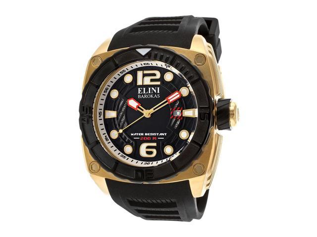 Elini Barokas 10014-Yg-01-Bb Commander Black Silicone And Textured Dial Gold-Tone Ss Watch