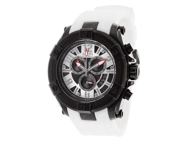 Elini Barokas 10056-Bb-02S-Whts Gladiator Chronograph White Silicone Black Dial Watch