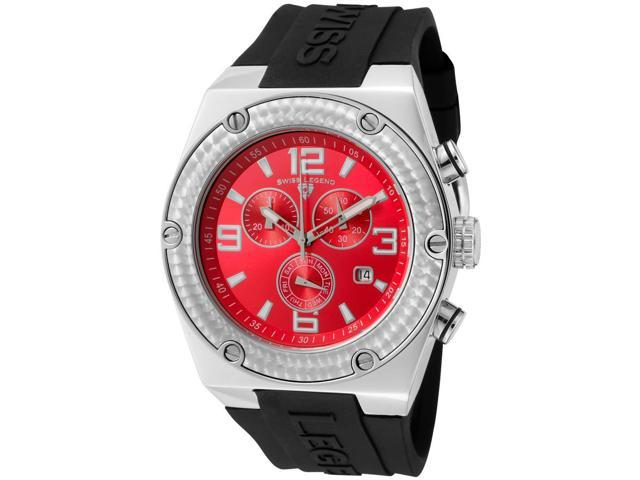 Throttle Chrono Black Silicone Red Dial Silver-Tone Case and Bezel
