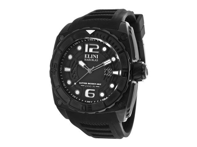 Elini Barokas 10014-Bb-01-Grya Commander Black Silicone And Textured Dial Black Ip Ss Watch