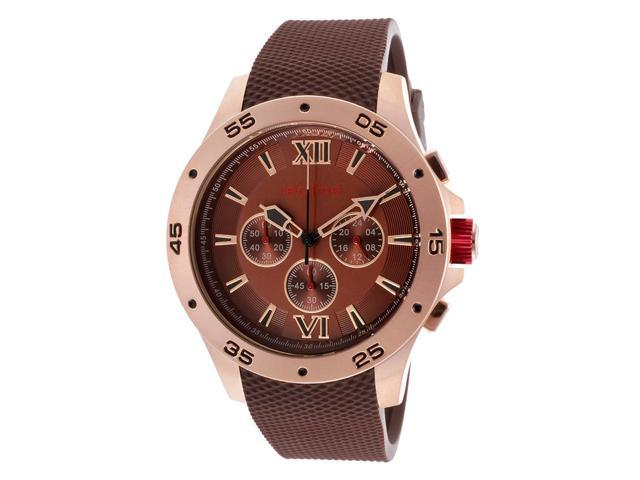 Red Line 60033 Spark Chrono Brown Rubber And Dial Rose-Tone Case Watch