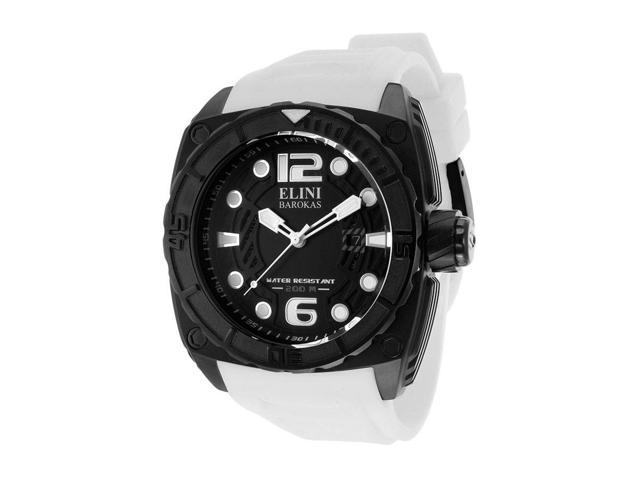 Elini Barokas 10014-Bb-01Wsa Commander White Silicone Black Textured Dial And Ip Ss Watch