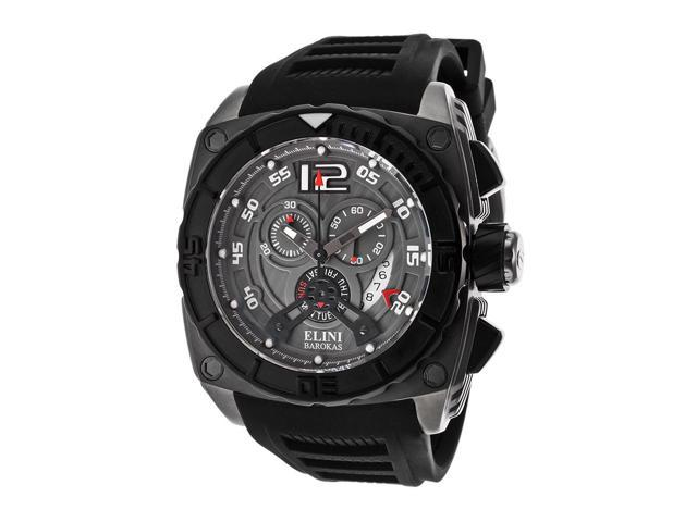 Elini Barokas 17012-Gm-014 Commander Chronograph Black Silicone Grey Dial Watch