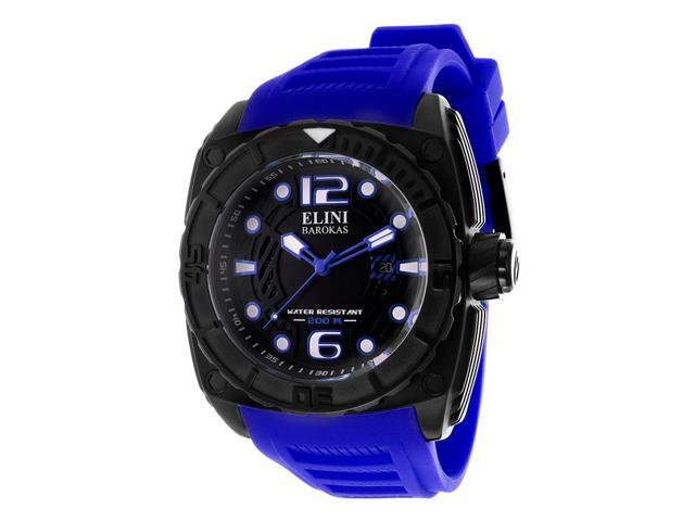Elini Barokas 10014-Bb01blsa Commander Royal Blue Silicone Black Dial, Bezel And Ip Ss Watch