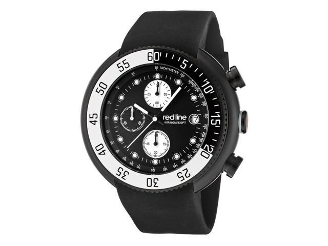 Red Line 50038-Bb-01-Wbbz Driver Chronograph Black Silicone Black Dial White Accent Watch