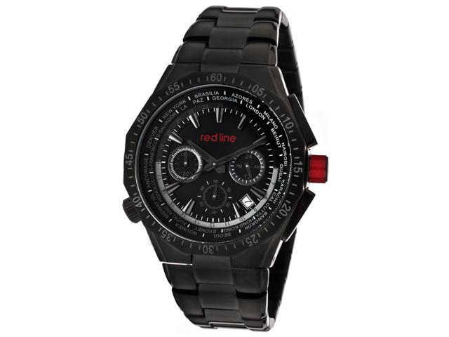 Red Line 50029Vd-Bb-11 Travel Chronograph Black Ion Plated Stainless Steel Black Dial Watch