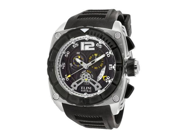Elini Barokas 17012-01-Yla Commander Chronograph Black Silicone And Dial Yellow Accents Watch