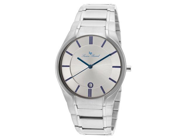 Lucien Piccard 10607-23S Davos Stainless Steel Silver-Tone Dial Blue Accent Watch