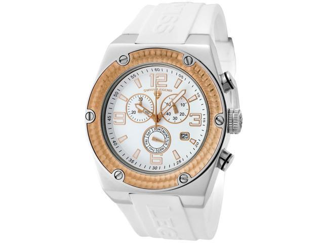 Swiss Legend 30025-02-Rb Throttle Chrono White Silicone And Dial Rose-Tone Bezel Silver-Tone Case Watch