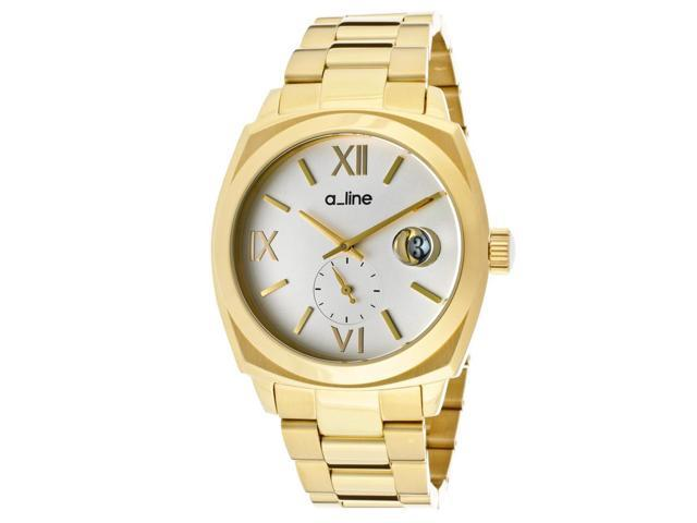 a_line Women's Dashuri Silver Dial Gold Tone Ion Plated Stainless Steel