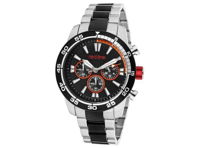 Red Line 60010 Cruiser Chrono Black And Stainless Steel Black Dial Orange Accent Watch