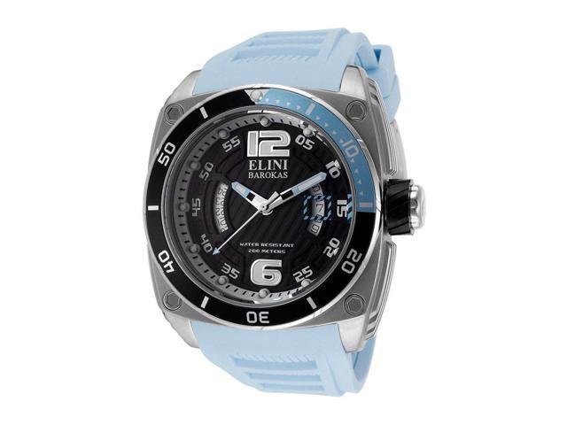 Elini Barokas 10013-01Bblsa Commander Light Blue Silicone Black Textured Dial Ss Watch