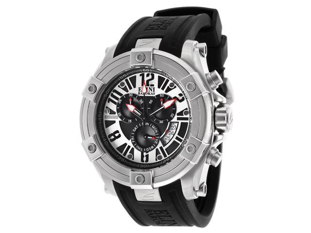 Elini Barokas 10056-01 Men's Gladiator Chronograph Black Silicone Black Dial Watch