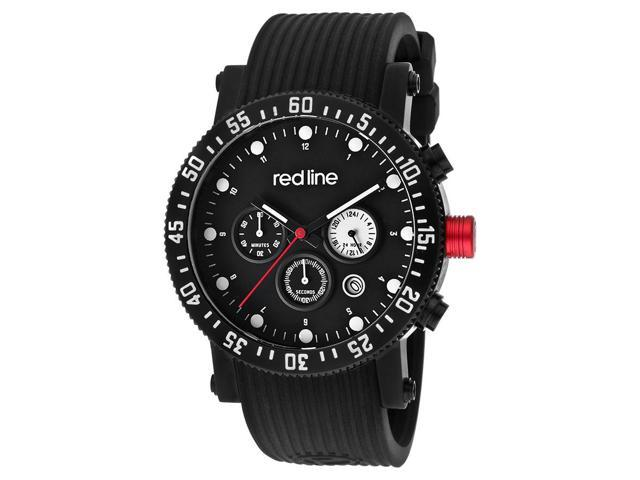 Red Line 18103-Bb-01 Compressor Diver Multi-Function Black Silicone Blue Dial Watch