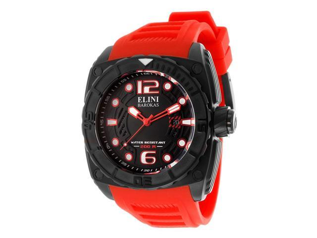 Elini Barokas 10014-Bb-01-Rdsa Commander Red Silicone Black Textured Dial And Ip Ss Watch