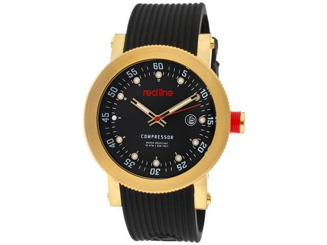 Red Line Men's Compressor Black Dial Black Textured Silicone