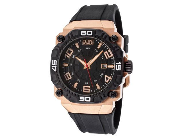 Elini Barokas 10318-Rg-01-Bb Comanche Black Silicone And Dial Rose-Tone Ss Watch