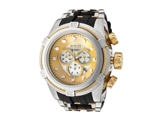 Invicta 828 Men's Bolt Reserve Chronograph Black Silicone Gold-Tone And Mop Dial Watch