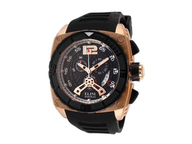 Elini Barokas 17012-Rg-01 Commander Chronograph Black Silicone And Dial Rose-Tone Case Watch