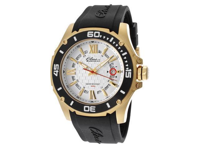 Elini Barokas 10196-Yg-02S-Bb Artisan Black Silicone Silver-Tone Dial Gold-Tone Ss Watch
