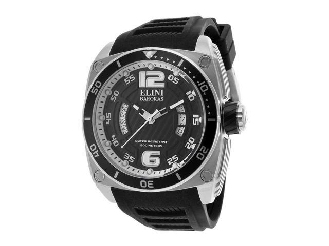 Elini Barokas 10013-01Blksa Commander Black Silicone And Textured Dial Ss Watch