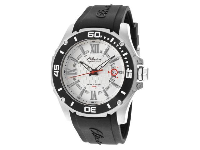 Elini Barokas 10196-02S-Bb Artisan Black Silicone White Textured Dial Ss Watch