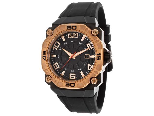 Elini Barokas 10318-Bb-01Rb Comanche Black Silicone And Dial Rose-Tone Bezel Watch