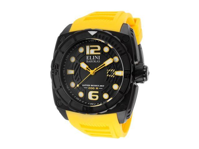 Elini Barokas 10014-Bb-01Ysa Commander Yellow Silicone And Black Dial Black Ip Ss Watch