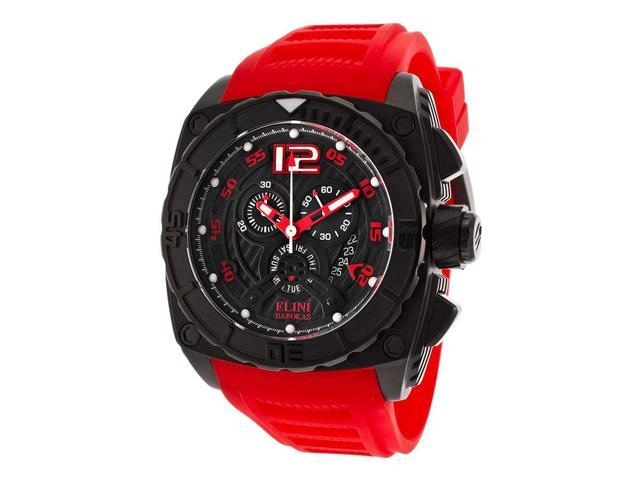 Elini Barokas 17012-Bb-01-Rdsa Commander Chronograph Red Silicone Black Dial And Ip Ss Watch