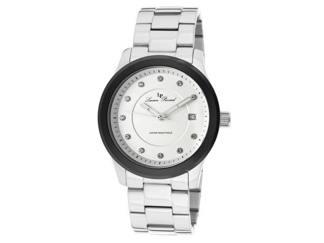 Lucien Piccard 10226-22-Bcb Cima Stainless Steel White Dial Black Bezel Crystals Watch