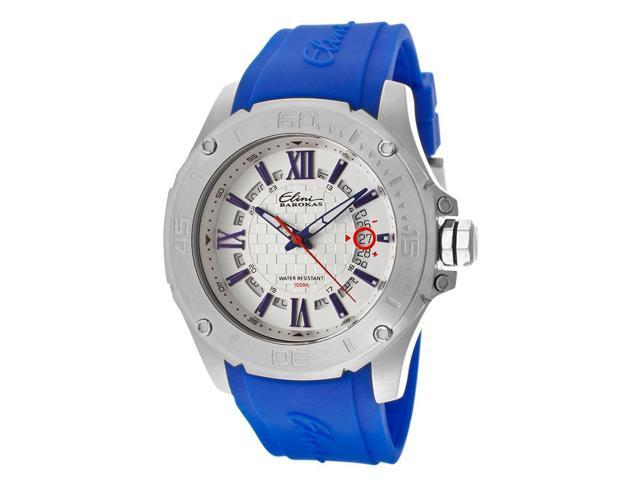 Elini Barokas 10196-023S-Bl Artisan Blue Silicone White Textured Dial Ss Watch
