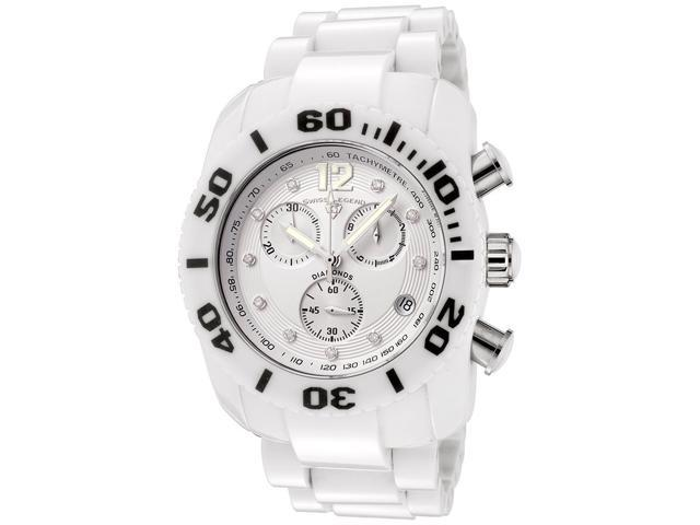 WISS LEGEND Men's Commander White Diamond (0.144 ctw) Chronograph White High Gra
