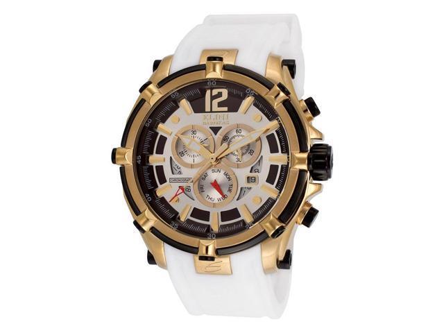 Elini Barokas 10179-Yg-02S-Wht Fortitudo Chrono White Silicone Silver-Tone Dial Gold-Tone Ss Watch