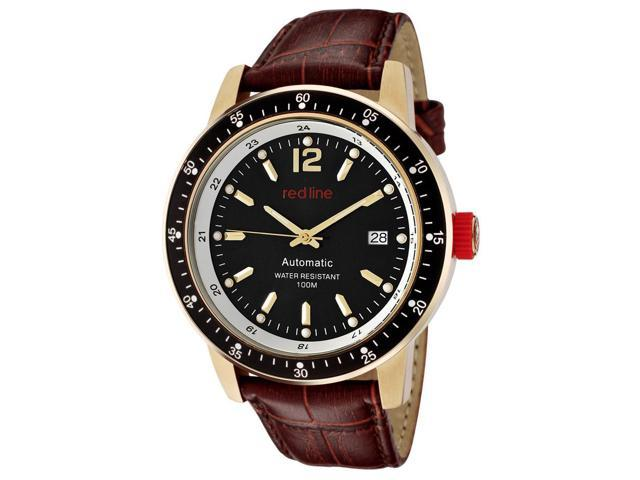 Red Line 50013-Yg-01-Br Meter Automatic Brown Genuine Leather Black Dial Gold-Tone Ss Watch