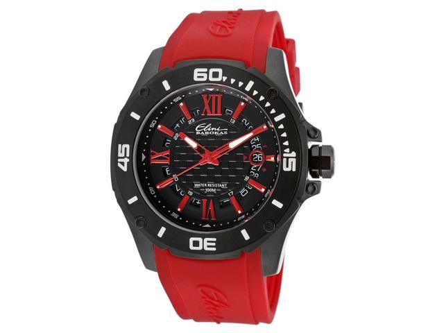 Elini Barokas Artisan Men's Black Dial Red Rubber Analog Watch